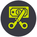 scissors cutting a dollar bill icon showing saving money